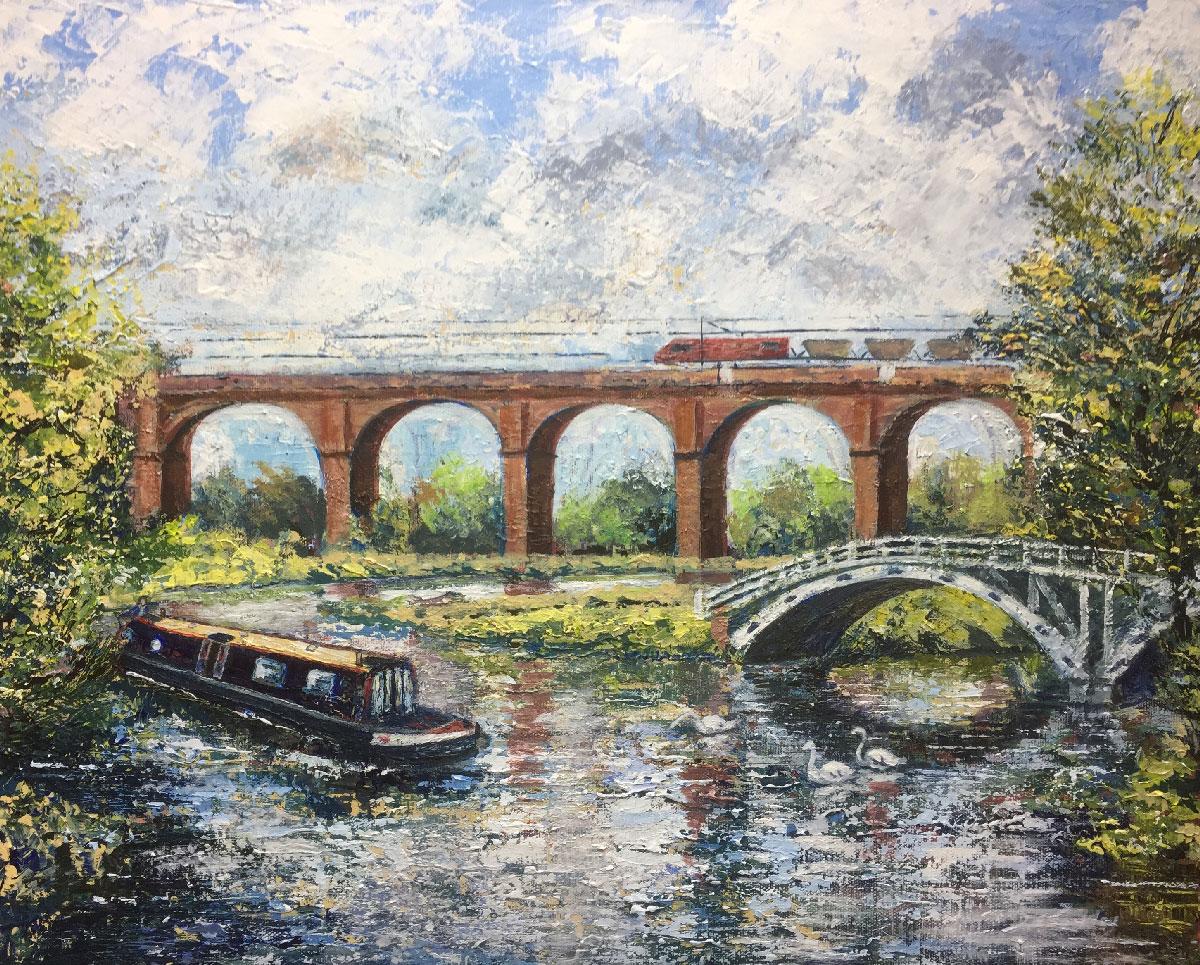 DUTTON VIADUCT & HORSE BRIDGEAcrylic on canvas 20