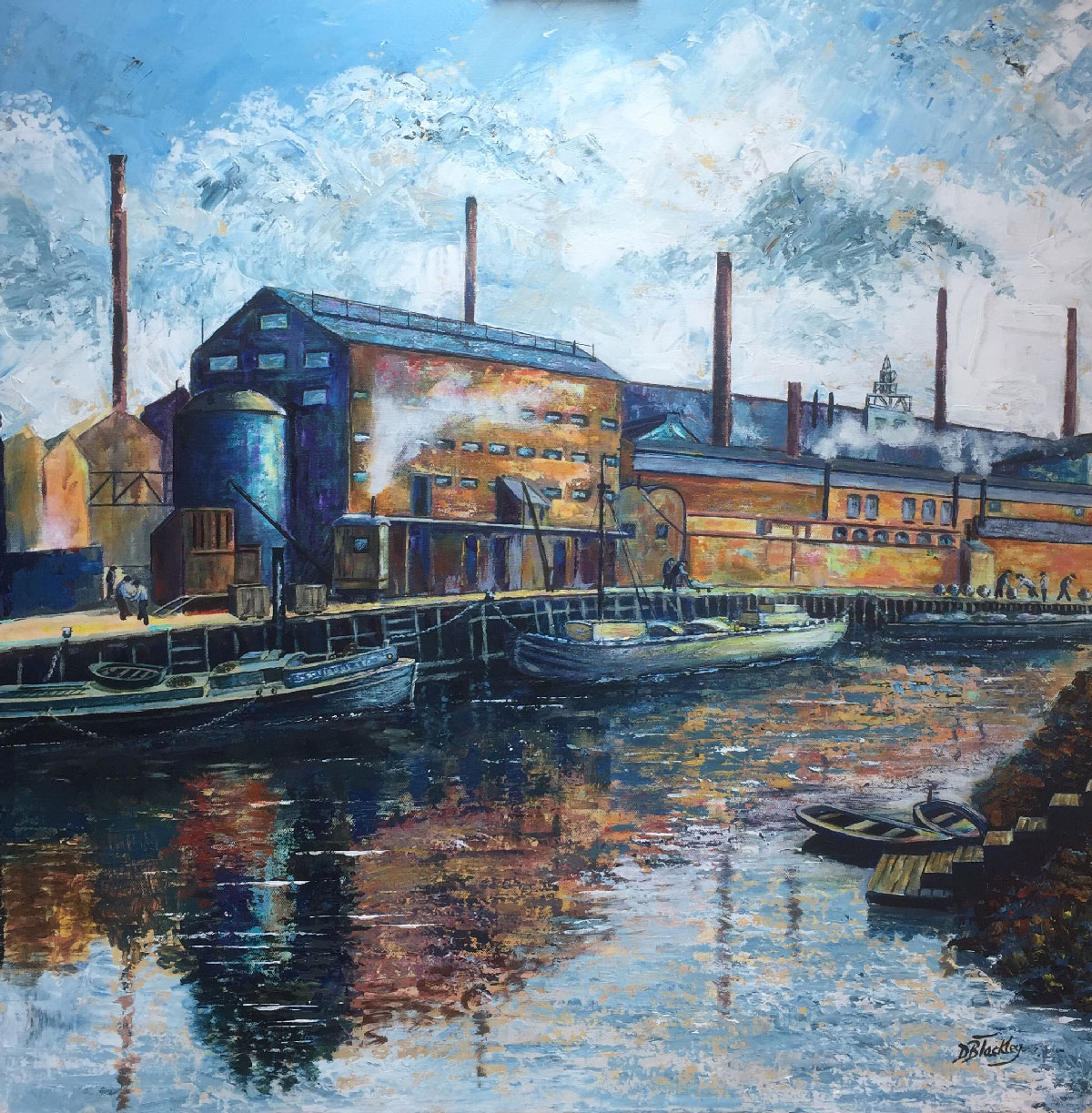 WINNINGTON WHARF Acrylic on canvas   £1200  Framed 36